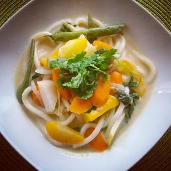 Vegan Tom Kha with udon noodles
